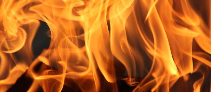 A very close up shot of some flames