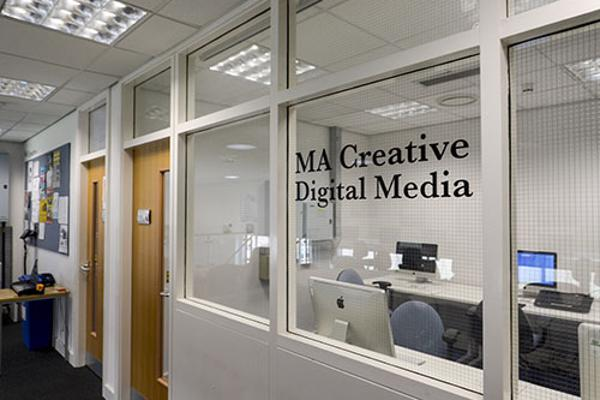 View through the window into the Creative Media masters computer room
