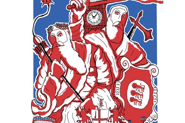 Red, white and blue illustration poster for Gog and Magog