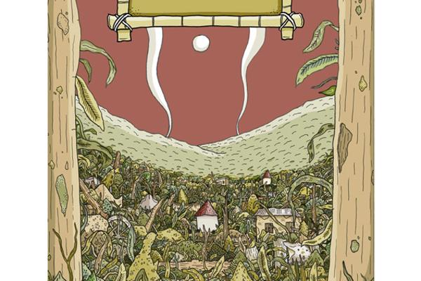 Book cover showing village consumed by woodland created by Illustration degree student