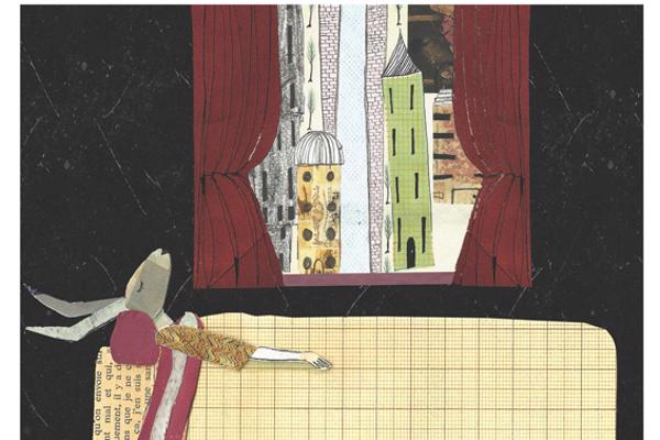 Illustration of a rabbit sleeping in a bed with a view of a city through a window behind, created by Illustration degree student
