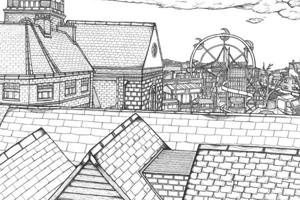 Monochrome illustration of rooftops with ferris wheel in the distance, created by Illustration degree student