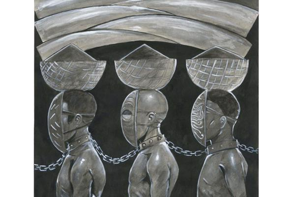 Illustration of men chained together at the neck, created by Illustration degree student