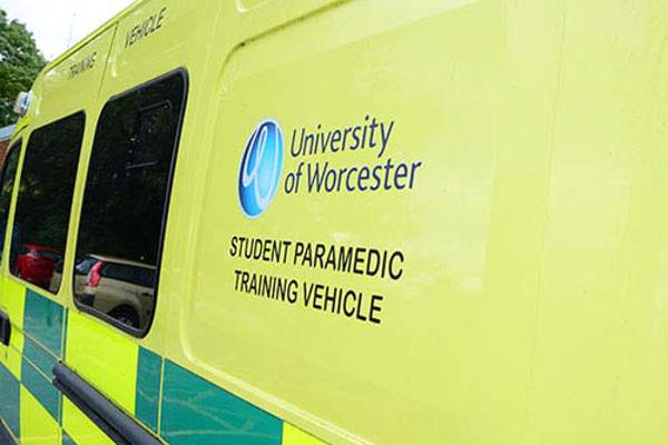 An ambulance used on our nursing degree with the words Student Paramedic Training Vehicle written on the side.