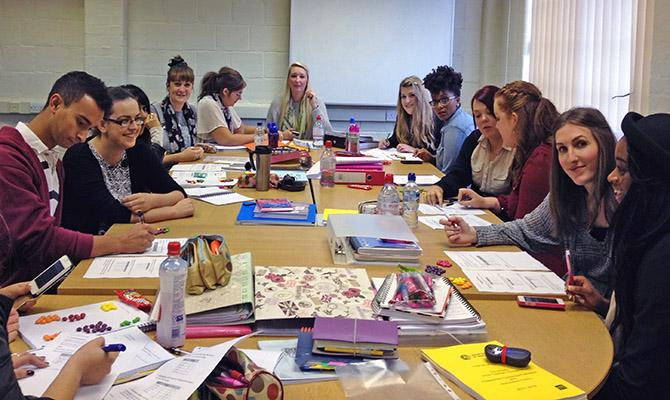 PGCE Psychology students doing group practical work