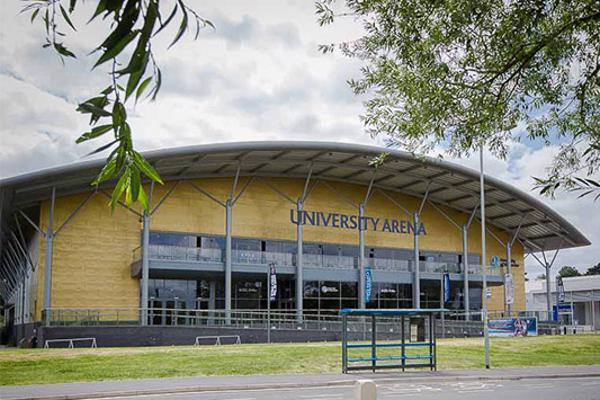 Exterior view of the University of Worcester Arena
