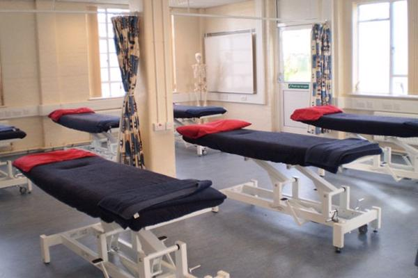 View of multiple sports therapy treatment beds