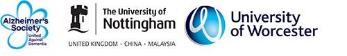 The logos for the Alzheimer's Society, The University of Nottingham and the University of Worcester