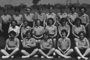 The 1950s netball team dressed in their uniforms