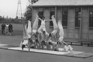 The Worcester 1954 Gym Club members making a human pyramid