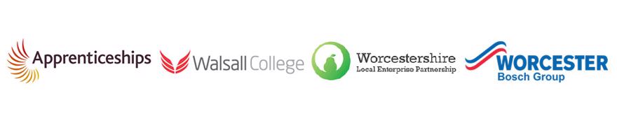 A collection of logos from apprenticeship providers including: Apprenticeships, Walsall College, Worcestershire Local Enterprise Partnerships and Worcester Bosch Group
