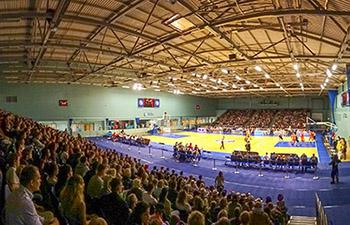 The Worcester University Arena full of people during a basketball game
