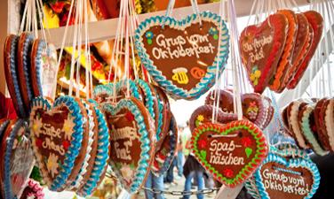German lebkuchen biscuits hanging from the ceiling