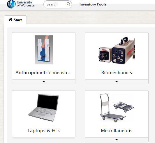 links to several pieces of equipment including laptops, bio mechanic equipment, anthropometric measuring equipment and miscellaneous.
