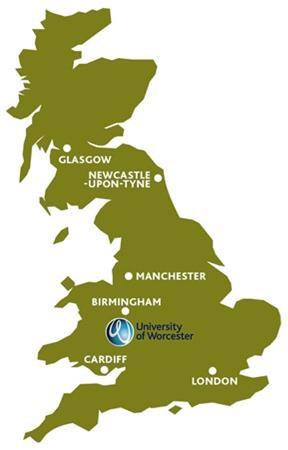 A map of the UK highlights where Worcester is