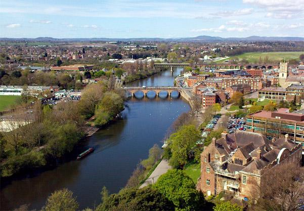 The River Severn aerial view on a sunny day