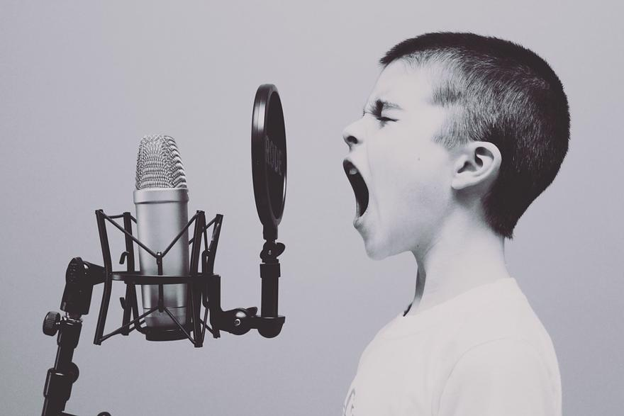 A child with short hair screams into a microphone