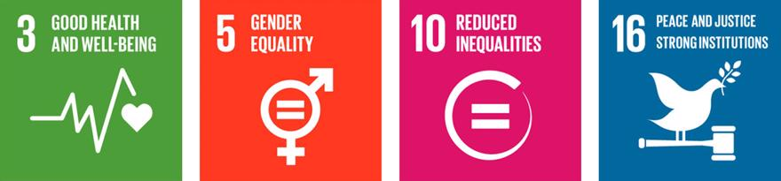 The SDG logos for 3. Good Health and Wellbeing 5. Gender Equality 10. Reduced Inequalities and 16. Peace Justice and 16. Strong Institutions