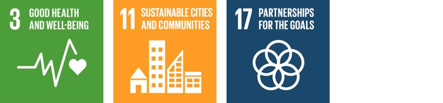 The SDG logos for 3.Good Health and Wellbeing, 11. Sustainable Cities and Communities and 17. Partnerships for the Goals