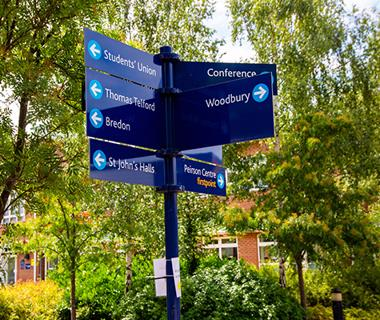 St John's campus sign display directions