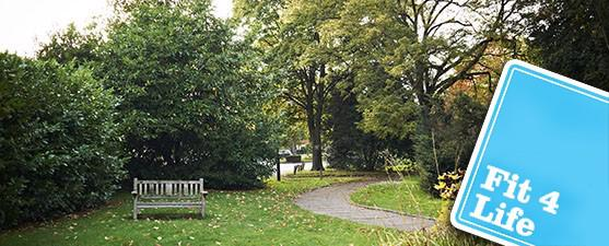 Photo of a green space and a bench with an overlay