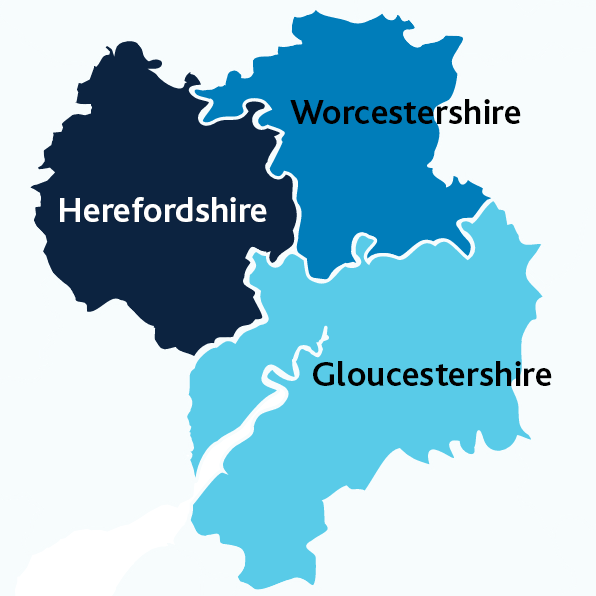 Simple map graphic of the three counties, Worcestershire, Herefordshire and Gloucestershire