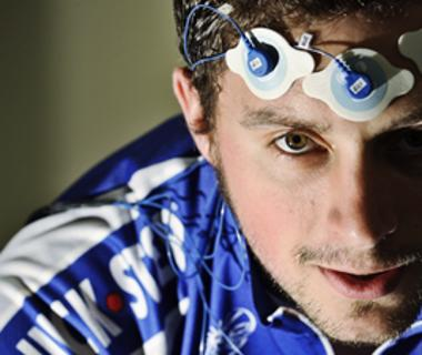 Sportsman with monitoring devises on his forehead