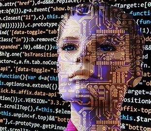 Woman's face overlayed with computer code
