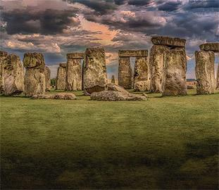 Stone Henge with a brooding sky above